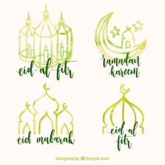 Pack von hübschen Aquarell Aufkleber von ramadan