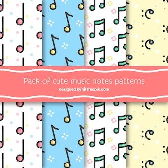 Pack von niedlichen Musik Noten Muster