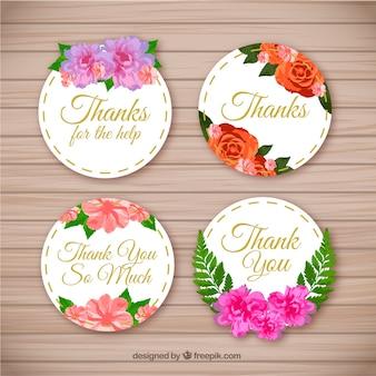 Pack von schönen Dankeschön Aufkleber mit Blumen