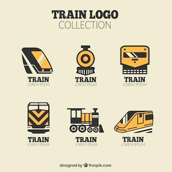 Pack von schwarzen und orange Zug Logos