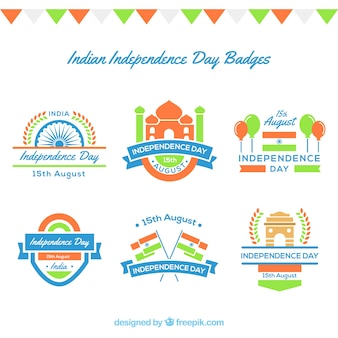 Pack von sechs Indien Unabhängigkeit Tag Abzeichen