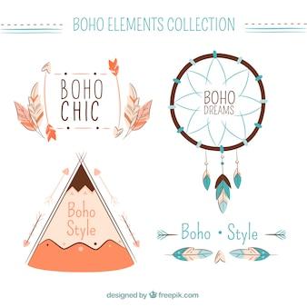Pack von süßen Boho-Elementen