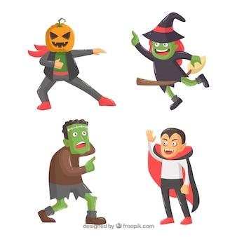 Pack von vier lustigen Halloween-Figuren