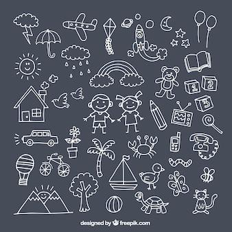 Packen Sie mit niedlichen Zeichnungen für den Tag der Kinder