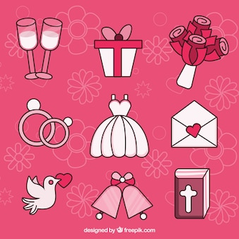 Packung dekorative Hochzeitsgegenstände