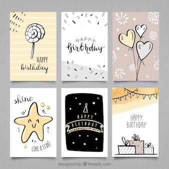 Packung Geburtstagskarten mit süßen Zeichnungen