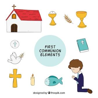 Packung Hand gezeichnete erste Kommunion Artikel