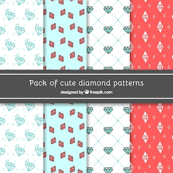 Packung mit dekorativen Mustern Diamanten von Hand gezeichnet
