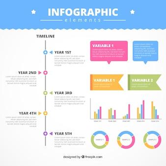 Packung mit farbigen Infografik Elemente in flacher Bauform