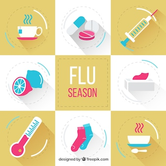 Packung mit flachen Grippesaison Elemente