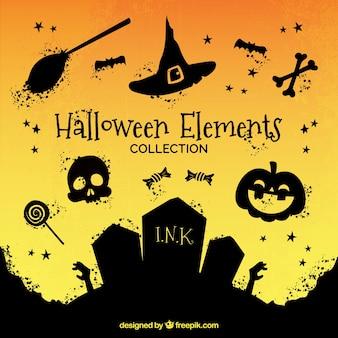 Packung mit Halloween-Elemente mit Farbe