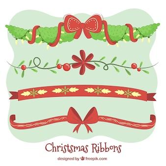 Packung mit Hand gezeichneten Weihnachten dekorative Bänder