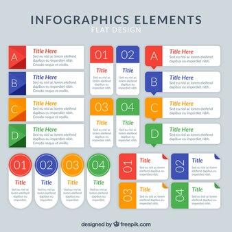 Packung mit Infografik Elemente mit farbigen Details
