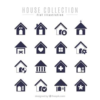 Packung mit minimalistischen Häuser