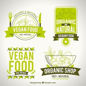 Packung mit natürlichen Lebensmitteln Logos