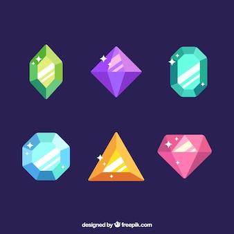 Packung mit sechs farbigen Edelsteinen
