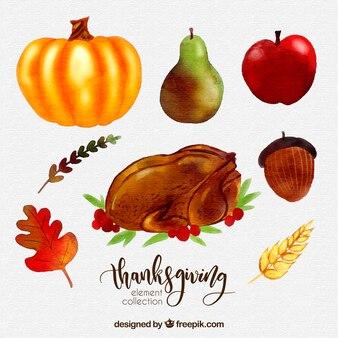Packung mit Truthahn mit Aquarell Thanksgiving Essen