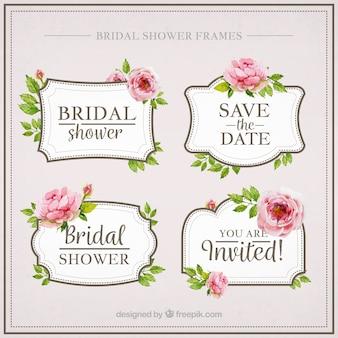 Packung mit vier Aquarell Brautdusche mit Blumen