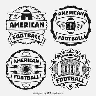 Packung mit vier dekorativen amerikanischen Fußball-Abzeichen