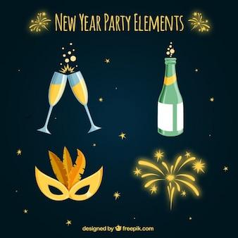 Packung mit vier Einzelteile für Party des neuen Jahres