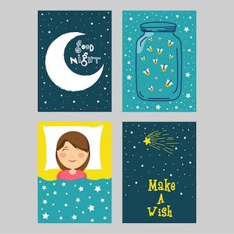Packung mit vier gute Nacht Karten