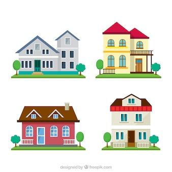 Packung mit vier Häusern mit Garten