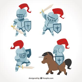 Packung mit vier Rittern mit Rüstung