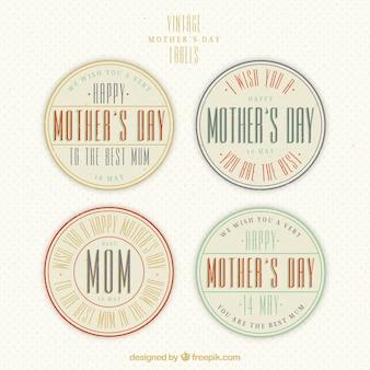 Packung mit vier runden Etikett für den Tag der Mutter im Retro-Stil