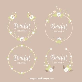 Packung mit vier runden Rahmen für Brautdusche