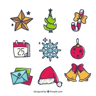 Packung mit Weihnachtselementen