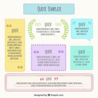 Packung mit Zitat-Vorlagen mit verschiedenen Farben
