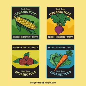 Packung Retro Bio Lebensmittel Aufkleber