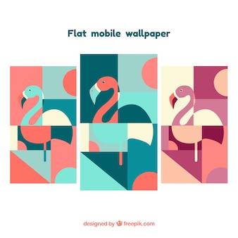 Packung von abstrakten Flamingos Wallpaper in flachen Design für mobile