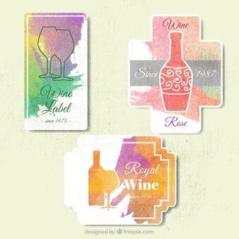 Packung von abstrakten Weinetiketten