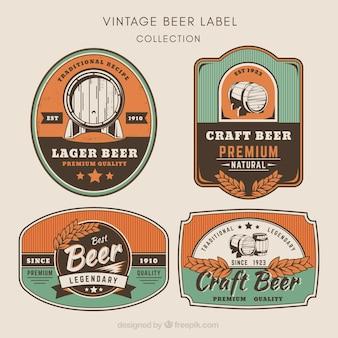 Packung von Bieraufklebern im Vintage-Stil