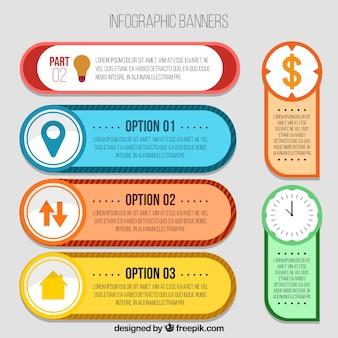 Packung von farbigen infografischen Bannern