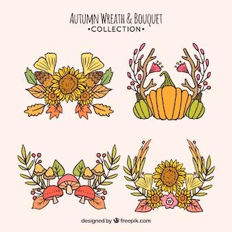 Packung von Hand gezeichnet Herbst Kränze