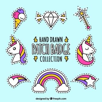 Packung von Hand gezeichnet Patches Märchen