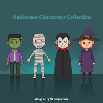 Packung von Hand gezeichneten Halloween-Figuren