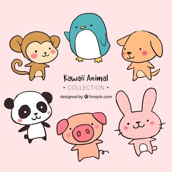 Packung von Hand gezeichneten süßen Tieren