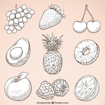 Packung von handgezeichneten, leckeren Früchten