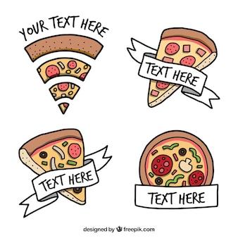Packung von Logos Hand gezeichnet Pizzas