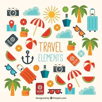 Packung von Reiseelementen in flachem Design
