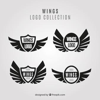 Packung von schwarzen Flügeln und Schildlogos