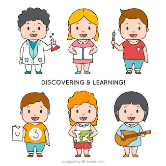 Packung von sechs glücklichen Studenten zu entdecken und zu lernen