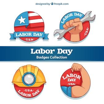 Packung von vier amerikanischen Arbeitstag Aufkleber