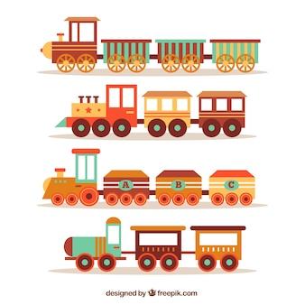Packung von vier Zügen im Retro-Stil