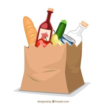Papierbeutel mit Nahrung