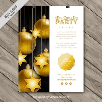 Party des neuen Jahres Plakat mit goldenen Kugeln