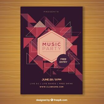 Partyplakat mit modernen geometrischen Formen